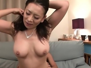 Sexy japanese babe in nylons toys her shaggy beaver