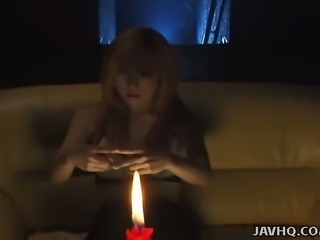 Attractive busty Japanese spiritual guru Juri Morikawa tries to see ghosts