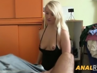 Shapely blonde getting her tiny asshole drilled properly