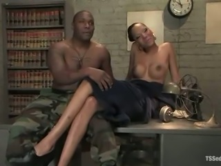 Dirty story in the army with an ebony shemale officer fucking Pr. Jack Hammer