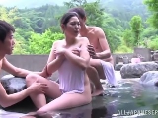 Juicy Japanese MILF Gets Banged Hard In A Threesome