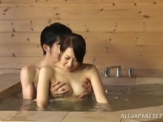 Japanese janitor gives a terrific blowjob in a bathroom