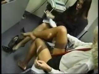 Office Stockings Lesbian Foot Massage