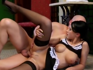 Bald horny customer fucks maid