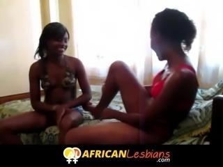Amateur African lesbian strapon party