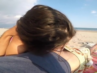 Blowjob & Awsome Facial On The Beach =D