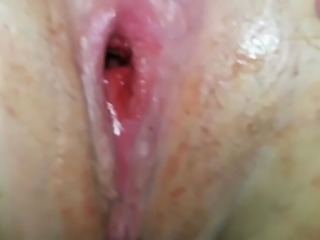 Close-up Sliding in White Pussy