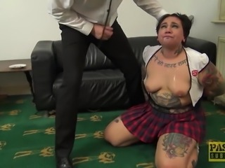 Chubby UK subslut disciplined and hammered hard