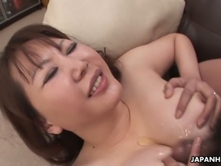 Chubby Japanese milf with big boobs pleases one guy