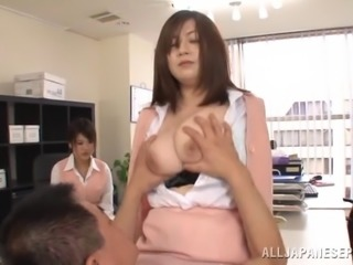 His cock must coat her big natural Japanese tits with hot semen