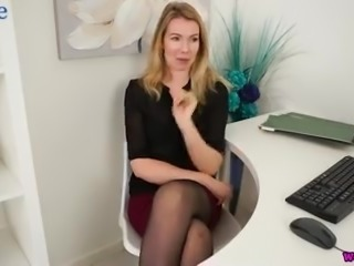 Hannah Z is lusty all alone secretary who brags of her tits and long legs