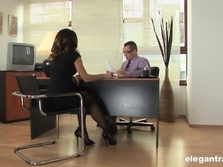 Hot secretary gives her boss an incredible orgasm at work