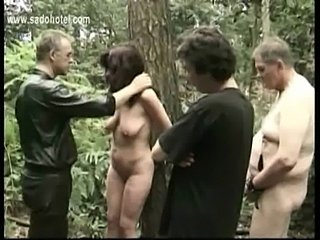 Hot and horny slave tied to tree with got played with by two free