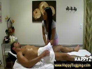 Masseuse puts her hands under the towel  free