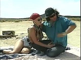 Biker slut ass fucked in the desert