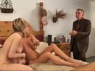 Old guy joins them for a threesome