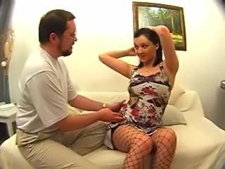 Hard cock invading the stockings girl