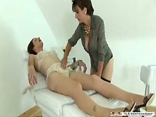 Skillful handjob for tranny in lingerie