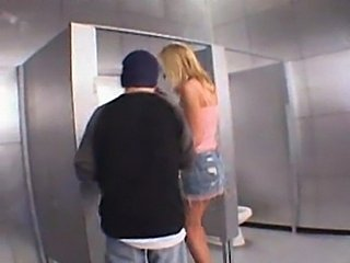 Blonde gets fucked on a toilet