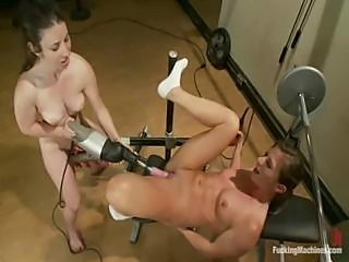 Brunette exercises, gets her pussy licked and uses a fuck machine