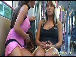 Naughty lesbians have public sex games in a tram  free