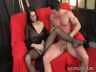 Cumming on TS pantyhose