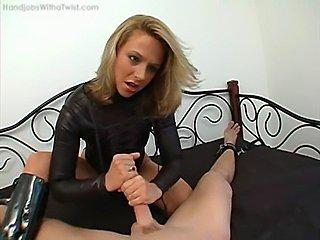 booted babe amazing handjob