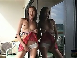Slim titty ladyboy shoots load while getting bonked