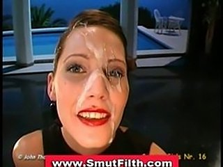 Bukkake brunette covered in sperm