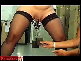 Weights on pussy lips, piercing and huge dildos