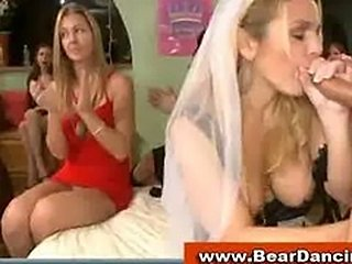 Horny bride gives bj at cfnm party
