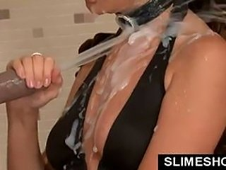 Full mouth of slime cum for gloryhole babe